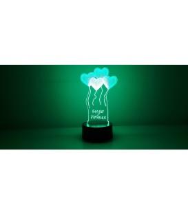 Lámpara globos corazones