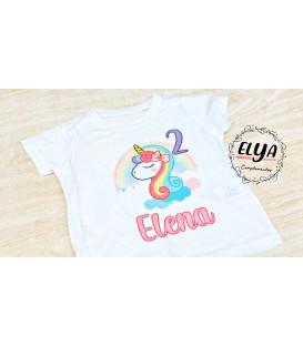 Camiseta cumpleaños unicornio-arcoiris