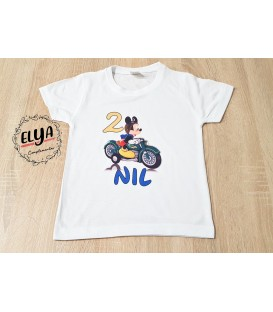 Camiseta cumpleaños Mickey moto