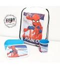 Fiambrera azul + taza plástico + mochila Spiderman