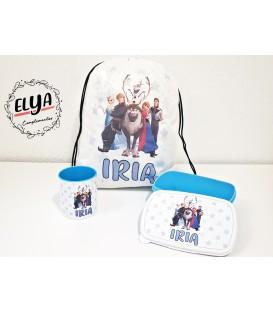 Fiambrera azul + taza plástico + mochila Frozen