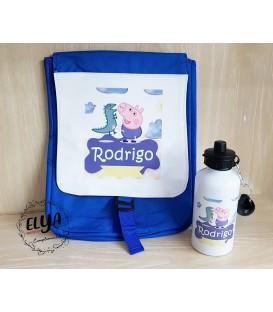 Pack mochila solapa + bidón 500ml  George Pig