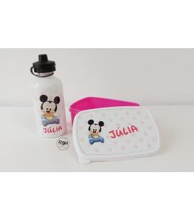 Fiambrera rosa +  bidón 500ml Baby Mickey
