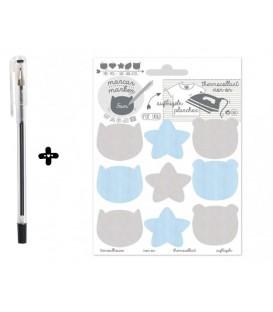 Etiquetas termoadhesivos ositos/estrellitas + Bolígrafo textil