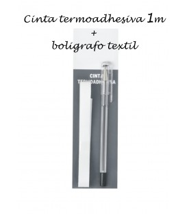 Cinta 1m termoadhesiva + Bolígrafo textil
